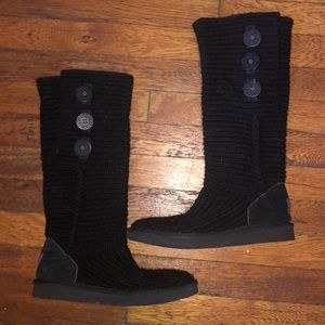 Ugg tall cardy black sweater boots sz 7 # 5819